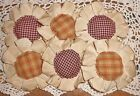 Handmade Primitive Burgundy and Mustard Flower Ornies/Bowl Fillers Set of 6