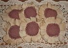 Handmade Primitive Burgundy Homespun Fabric Flowers Ornies/Bowl Fillers Set of 6