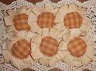 Handmade Primitive Mustard Plaid Flower Ornies/Bowl Fillers Set of 6
