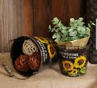 NEW!! Primitive Farmhouse Country Sunflowers Buckets w/Handles Set of 2