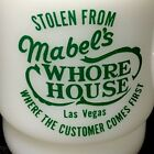 VTG Fire King Mabel's Whore House Las Vegas D Handle Stackable Advertising Mug