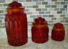 Vintage L. E. Smith Moon and Stars Red/Amberina  Canister Set Of 3 with lids