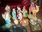 12 pc Nativity Set Lg up to 11 tall ceramic bisqueresin gold embellished