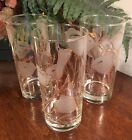 Set of 3 CLUVER Tall Cooler Glasses Clear Glass White Frosted Poppies Gold Gilt
