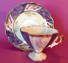 Pedestal Tea Cup With Fabulous Handle And Reticulated Saucer - Blue And White