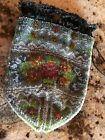 VTG. Antique Glass Micro Beaded w/Drawstring Bag/Purse Floral Design