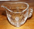 Vintage Clear Glass Creamer Cut Frosted Glass Leaves Circles Dots Flowers
