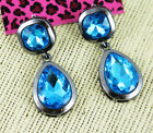 Betsey Johnson Black gold plated blue drop Crystal Rhinestone Cactus earrings