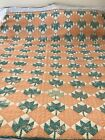 Vintage 1930s Feedsack Maple Leaf Quilt, Green, Peach and Cream