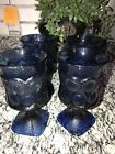 4 VINTAGE Sapphire blue FOOTED ICED TEA GOBLETS/TUMBLERS 4th July Party Unique