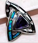 Amethyst & Australian Opal Inlay Topaz 925 Solid Sterling Silver Pendant Necklac