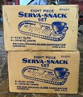 2 Anchor Hocking Serva-Snack Sets 8 RUBY Cups, 8 Crystal Trays original boxes