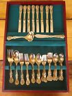 **EUC** F.B. ROGERS French Rose, Gold Plate 44 Piece Flatware Set w/ Hostess Set