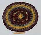 Antique Early 20thC Hand Braided Floral Oval Wool Area Rug, No Reserve