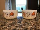 Vintage 1958 Anchor Hocking Fire King Snoopy Peanuts Sweet Dreams Glass Bowls