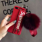 For iPhone X 8 7 6s Plus Superme Painted hair ball wristband Leather Case Cover