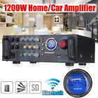 220V 1200W 2CH Bluetooth Stereo Home/Car Amplifier With VU Meter Support USB/SD