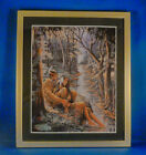 8X10 FRAMED iINDIAN LOVERS BY STREAM 12X10 MATTED  FRAME LITHROGRAPH