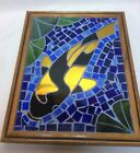 Ready to Hang Artist Signed  Dated Framed Mosaic Stained Glass Koi Fish 6