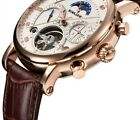 Mechanical Automatic Men Sports Tourbillon Top Luxury Leather Moon Phase Watches