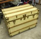 Antique Steamer Trunk Chest Wood With Metal Hardware Painted Shop/AC276