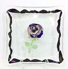 Art Glass Large Plate Tray Platter Purple Metallic Luster Flower Bubbles Decor