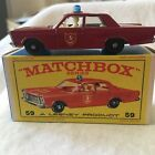 Matchbox Lesney  59 Fire Chief Ford Galaxie Red with Blue Dome Original Box