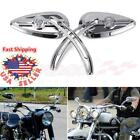 Universal Chrome Motorcycle Skull Rearview Mirrors Aluminum 8mm 10mm For Harley