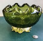 Vintage Indiana Glass Green Pineapple Footed Bowl - Avocado Green