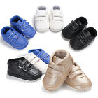 Newborn Baby Boy Girl Faux Leather Crib Shoes Toddler Pre Walker Sneakers 0 18 M