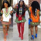 Women African Dashiki Shirt Hippe Gypsy Holiday Tops Beachwear Short Mini Dress