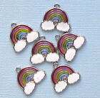 5 Rainbow Charms Silverplated Enamel Fun and Colorful E014