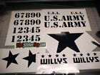 Jeep Willys WW2 Decal Kit USA ARMY Star JK TJ Stickers Military Restoration cj