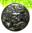 VICTORIAN GOLD LUSTER GLASS BUTTON W/ GROUSE BIRD AND SNOWY PAINTED FLOWERS N73