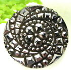 SPARKLING ANTIQUE SILVER LUSTER GLASS BUTTON W/ SPIRAL FLOWER DESIGN N2