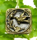 SWEET VICTORIAN SQUARE SHADOW BOX STYLE METAL BUTTON WITH BIRD N50