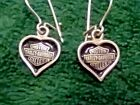 HARLEY DAVIDSON Sterling Silver 925 Bar  Shield Black Heart Dangle Earrings