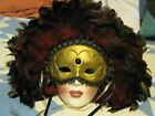 Clay Art Decorative Lady Face Mask Art Deco w Black  Maroon Feathers