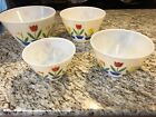 Vintage 4 Piece Fire-King Oven Ware Tulip Nesting Mixing Bowls