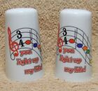 Nice Pair of Porcelain SALT  PEPPER SHAKERS You Light Up My Life
