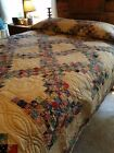 Vintage 1940-50's Quilt Never Used Beautiful Colors 87 X 88