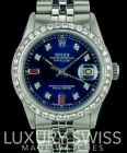 Rolex Men's 36mm Datejust Stainless Steel Blue Dial with Ruby and Diamond Bezel