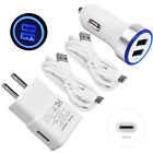 LED USB Car&Wall Charger+Cable For Google Pixel 2 XL Nexus 5X  6P LG Stylo 4 G7