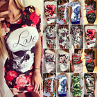 Womens Floral Casual Mini Dress Cocktail Party Bodycon Slim Fit Pencil Dresses