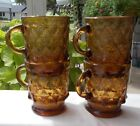 Amber Brown Diamond Kimberly Mugs by Fire King Set of 4 Coffee Cup Retro
