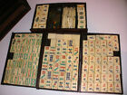Antique Chinese Mah-Jongg Set bovine Tiles sticks and brass coins in wood box