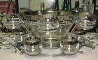 Queen's Lustereware Silver Fade Punch Bowl Set With Double Tier Stand And Box