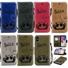 For iPhone bear Pattern Magnetic Card holder PU leather Strap Phone case Wallte