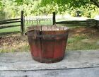 Antique Wooden Sap Bucket Staved Original Red Paint Bail Handle with Hook