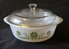 Vintage Glasbake 1 1/2 Qt Round Casserole Dish with Lid Avocado green Daisy